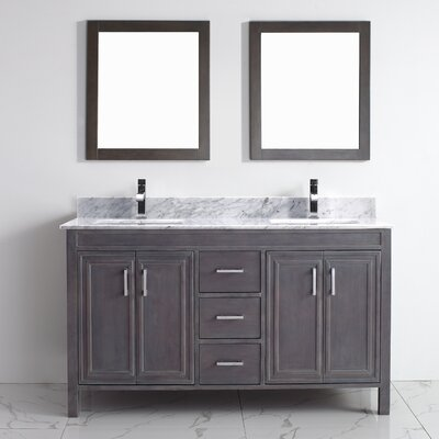 Coraline 60 Double Bathroom Vanity Set with Mirror Base Finish: French Gray, Top Finish: Carrera Marble