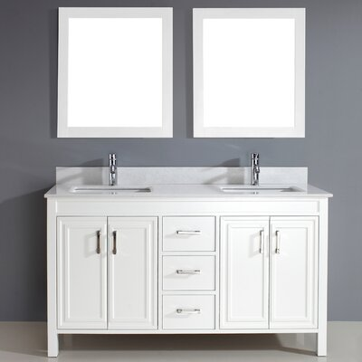 Coraline 60 Double Bathroom Vanity Set with Mirror Base Finish: White, Top Finish: Solid Surface Carrera