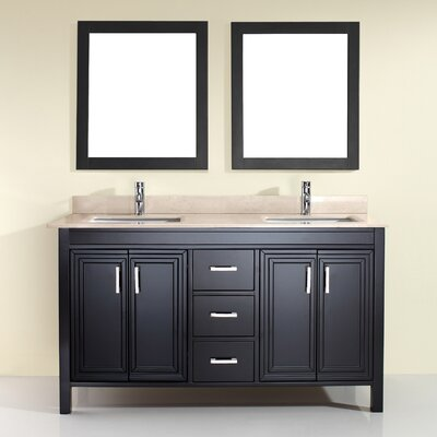 Coraline 60 Double Bathroom Vanity Set with Mirror Base Finish: Espresso, Top Finish: Gala Beige