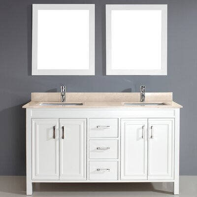 Coraline 60 Double Bathroom Vanity Set with Mirror Base Finish: White, Top Finish: Gala Beige