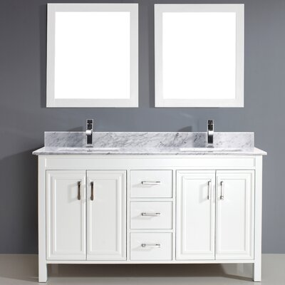 Coraline 60 Double Bathroom Vanity Set with Mirror Base Finish: White, Top Finish: Carrera Marble