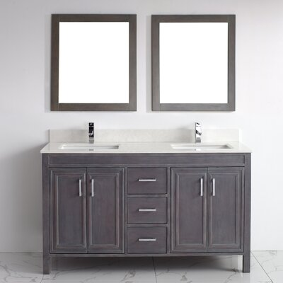 Coraline 60 Double Bathroom Vanity Set with Mirror Base Finish: French Gray, Top Finish: Solid Surface Carrera