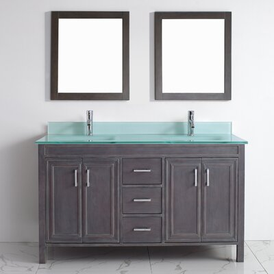 Coraline 60 Double Bathroom Vanity Set with Mirror Base Finish: French Gray, Top Finish: Mint Green Glass