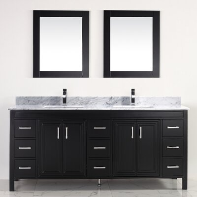 Coraline 75 Double Bathroom Vanity Set with Mirror Top Finish: Carrera Marble, Base Finish: Espresso
