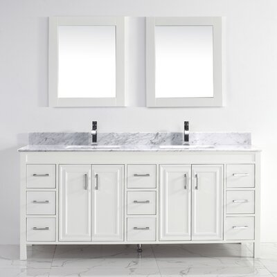 Coraline 75 Double Bathroom Vanity Set with Mirror Base Finish: White, Top Finish: Carrera Marble