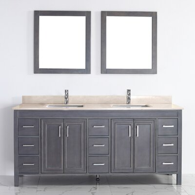Coraline 75 Double Bathroom Vanity Set with Mirror Base Finish: French Gray, Top Finish: Gala Beige