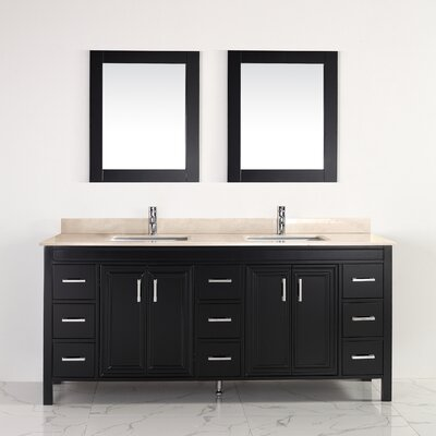 Coraline 75 Double Bathroom Vanity Set with Mirror Base Finish: Espresso, Top Finish: Gala Beige