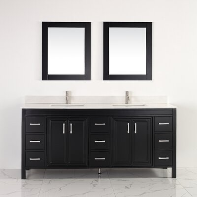Coraline 75 Double Bathroom Vanity Set with Mirror Base Finish: Espresso, Top Finish: Solid Surface Carrera