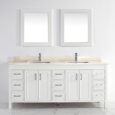 Coraline 75 Double Bathroom Vanity Set with Mirror Base Finish: White, Top Finish: Gala Beige