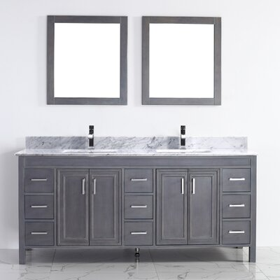 Coraline 75 Double Bathroom Vanity Set with Mirror Base Finish: French Gray, Top Finish: Carrera Marble