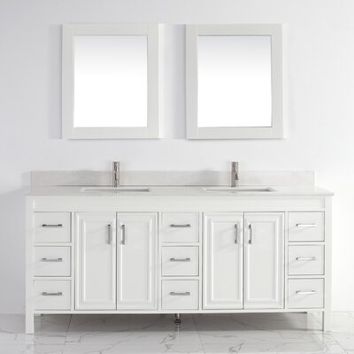 Coraline 75 Double Bathroom Vanity Set with Mirror Base Finish: White, Top Finish: Solid Surface Carrera