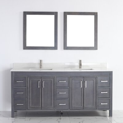 Coraline 75 Double Bathroom Vanity Set with Mirror Base Finish: French Gray, Top Finish: Solid Surface Carrera