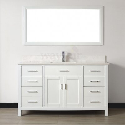 Celize 60 Single Bathroom Vanity Set with Mirror Base Finish: White, Top Finish: White