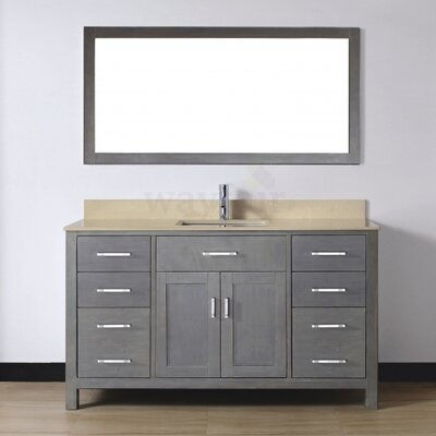 Celize 60 Single Bathroom Vanity Set with Mirror Base Finish: French Gray, Top Finish: Yellow