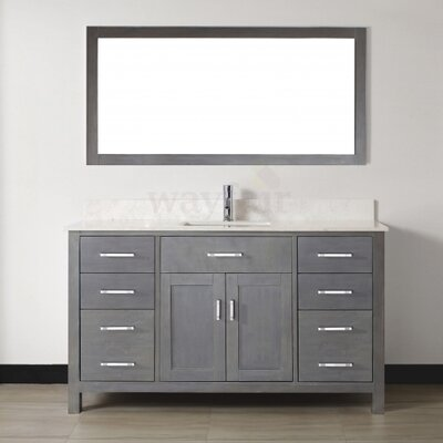 Celize 60 Single Bathroom Vanity Set with Mirror Base Finish: French Gray, Top Finish: White
