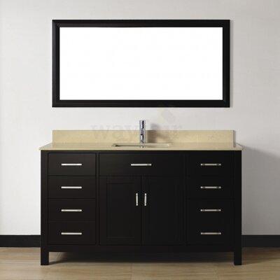 Celize 60 Single Bathroom Vanity Set with Mirror Base Finish: Espresso, Top Finish: Yellow