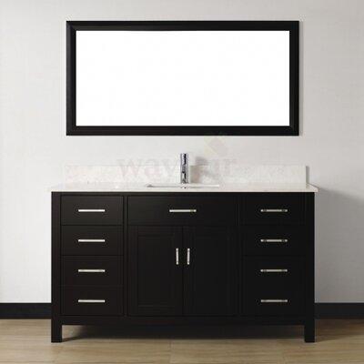 Celize 60 Single Bathroom Vanity Set with Mirror Base Finish: Espresso, Top Finish: White