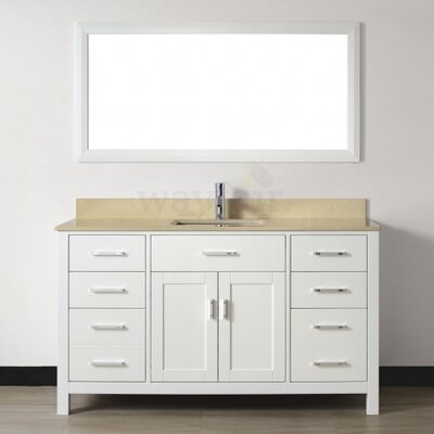 Celize 60 Single Bathroom Vanity Set with Mirror Base Finish: White, Top Finish: Yellow