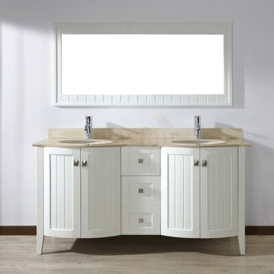 Ridgeport 60 Double Bathroom Vanity Set with Mirror Base Finish: White