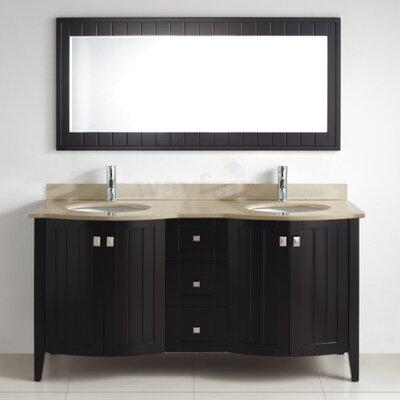 Ridgeport 60 Double Bathroom Vanity Set with Mirror Base Finish: Espresso