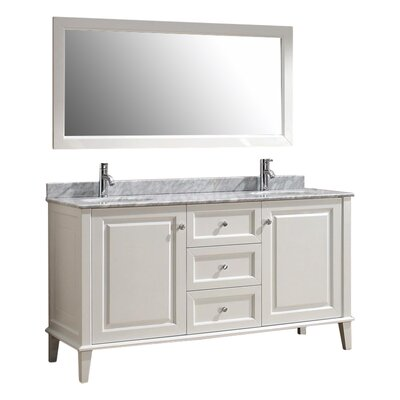 Milly 63 Double Bathroom Vanity Set with Mirror Base Finish: Blanc, Top Finish: Carerra Marble