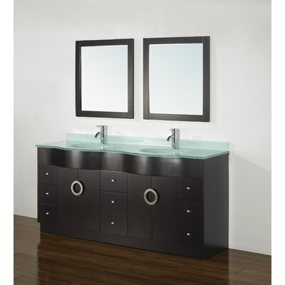 Zed 72 Double Bathroom Vanity Set with Mirror Top Finish: Mint Green Glass Top