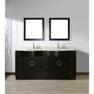 Zed 72 Double Bathroom Vanity Set with Mirror Top Finish: Nougat Quartz Top