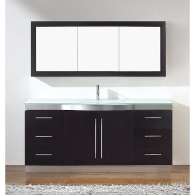 Diara 72 Single Bathroom Vanity Set with Mirror Base Finish: Chai, Top Finish: Mint Green Glass