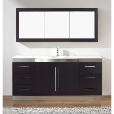 Diara 72 Single Bathroom Vanity Set with Mirror Base Finish: Chai, Top Finish: Nougat Quartz
