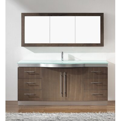 Diara 72 Single Bathroom Vanity Set with Mirror Base Finish: Fum�, Top Finish: Mint Green Glass