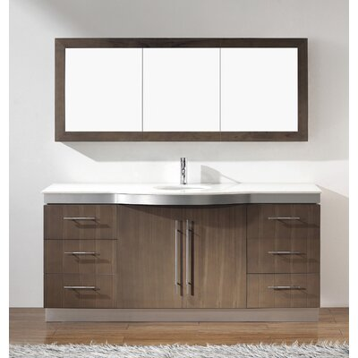 Diara 72 Single Bathroom Vanity Set with Mirror Base Finish: Fum�, Top Finish: Nougat Quartz