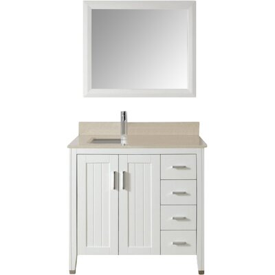 Jacchi 36 Single Bathroom Vanity Set with Mirror Base Finish: White, Top Finish: Carerra White Marble