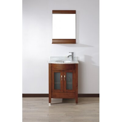 Alfa 24 Single Bathroom Vanity Set with Mirror Base Finish: Ceries Classique, Top Finish: Carerra White Marble