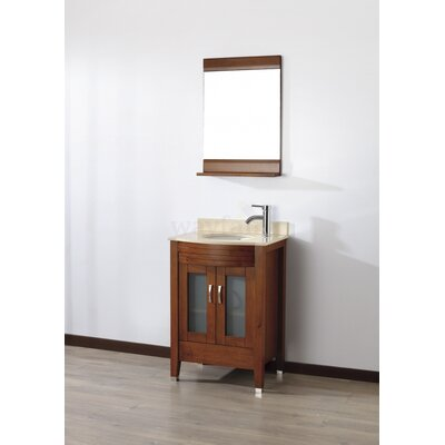 Alfa 24 Single Bathroom Vanity Set with Mirror Base Finish: Ceries Classique, Top Finish: Gala Beige
