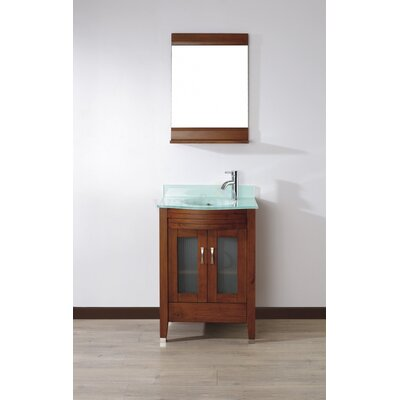 Alfa 24 Single Bathroom Vanity Set with Mirror Base Finish: Ceries Classique, Top Finish: Mint Green Glass