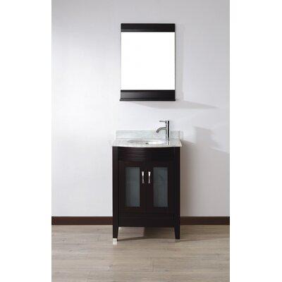 Alfa 24 Single Bathroom Vanity Set with Mirror Base Finish: Chai, Top Finish: Carerra White Marble
