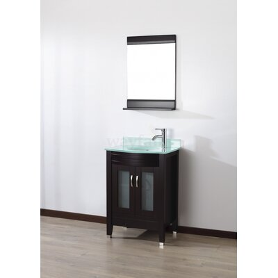Alfa 24 Single Bathroom Vanity Set with Mirror Base Finish: Chai, Top Finish: Mint Green Glass