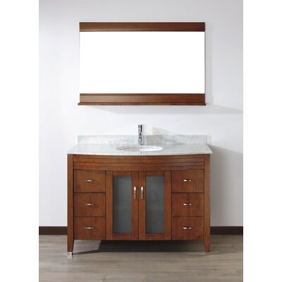 Alfa 48 Single Bathroom Vanity Set with Mirror Base Finish: Ceries Classique, Top Finish: Carerra White Marble