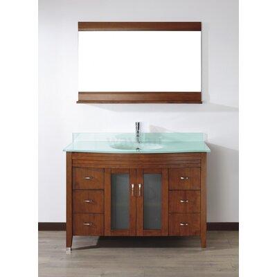 Alfa 48 Single Bathroom Vanity Set with Mirror Base Finish: Ceries Classique, Top Finish: Mint Green Glass
