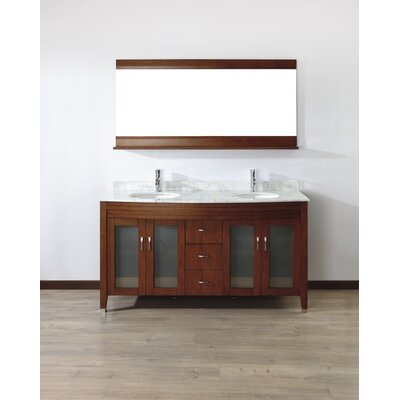 Alfa 63 Double Bathroom Vanity Set with Mirror Base Finish: Ceries Classique, Top Finish: Carerra White Marble