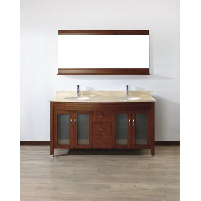 Alfa 63 Double Bathroom Vanity Set with Mirror Base Finish: Ceries Classique, Top Finish: Gala Beige
