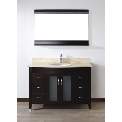 Alfa 48 Single Bathroom Vanity Set with Mirror Base Finish: Chai, Top Finish: Gala Beige
