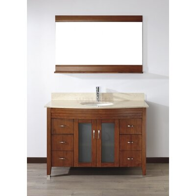 Alfa 48 Single Bathroom Vanity Set with Mirror Base Finish: Ceries Classique, Top Finish: Gala Beige