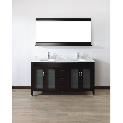 Alfa 63 Double Bathroom Vanity Set with Mirror Base Finish: Chai, Top Finish: Carerra White Marble