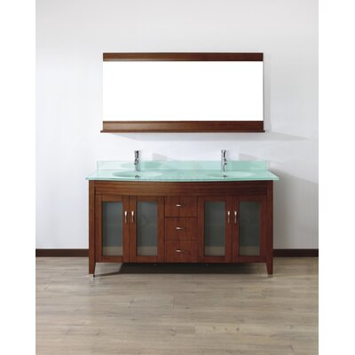 Alfa 63 Double Bathroom Vanity Set with Mirror Base Finish: Ceries Classique, Top Finish: Mint Green Glass