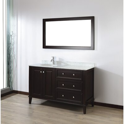 Milly 55 Single Bathroom Vanity Set with Mirror Base Finish: Chai, Top Finish: Carerra Marble