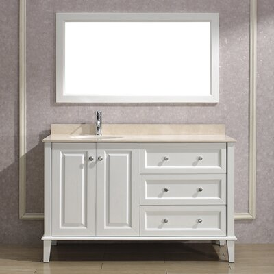 Milly 55 Single Bathroom Vanity Set with Mirror Base Finish: Blanc, Top Finish: Carerra Marble