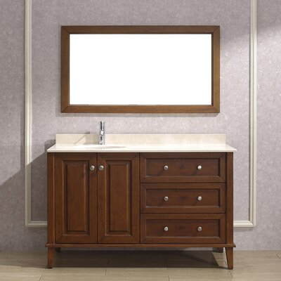 Milly 55 Single Bathroom Vanity Set with Mirror Base Finish: Ceries Classique, Top Finish: Gala Beige Marble