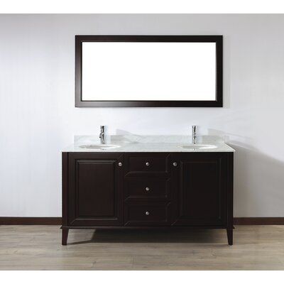 Milly 63 Double Bathroom Vanity Set with Mirror Base Finish: Chai, Top Finish: Carerra Marble