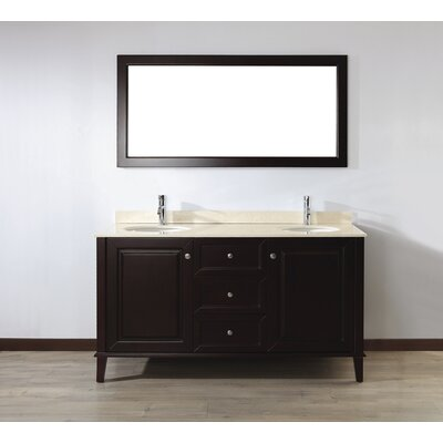 Milly 63 Double Bathroom Vanity Set with Mirror Base Finish: Chai, Top Finish: Gala Beige Marble